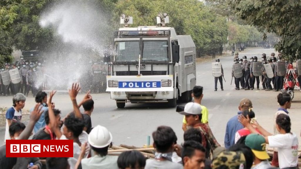 Myanmar coup: At least two killed as police disperse protesters