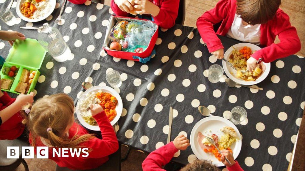School Children Eating Dinner
