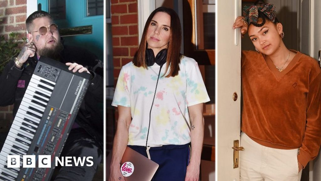 Stars pose on their doorsteps for lockdown project