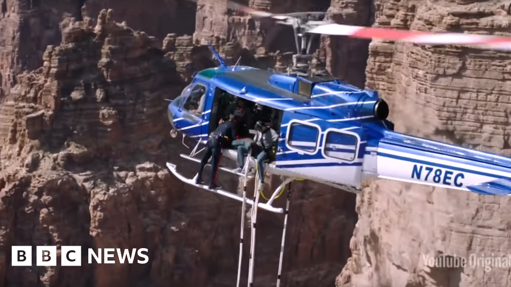 Will Smith does helicopter bungee jump