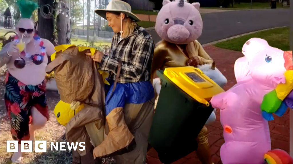 Coronavirus: Dressing up for bin night 'brings a smile' in Australia