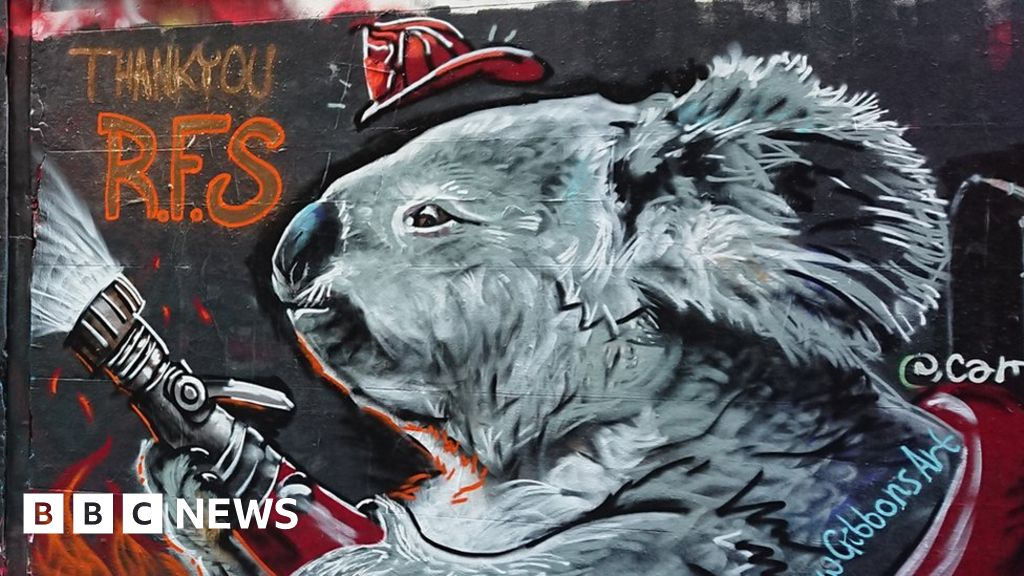 Australia fires: Graffiti artist pays tribute to the fire Department