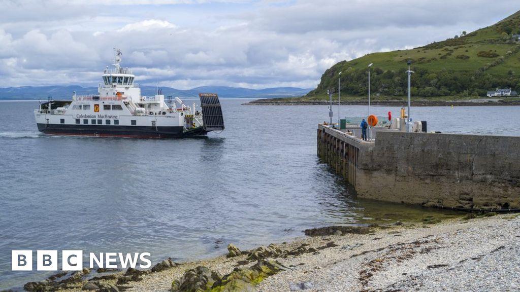 Calmac car ferry - Caldeonian MacBrayne vehicle ferries - arriving at Lochranza Ferry Port, Isle of Arran, Scotland.