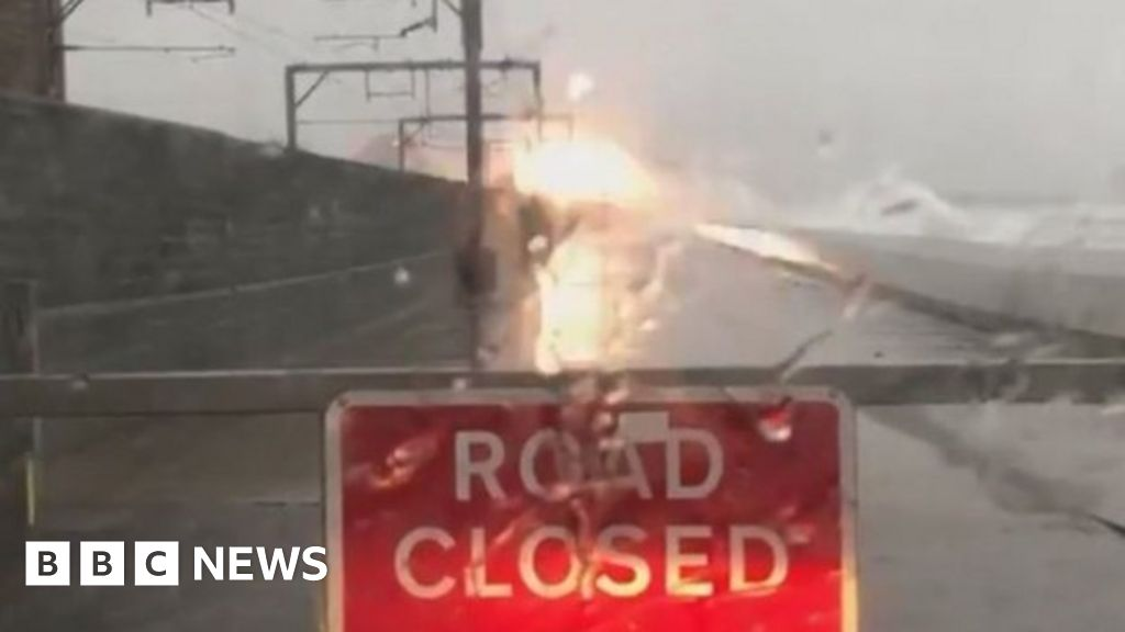 Overhead wires tripped out near a train during Storm Gareth.