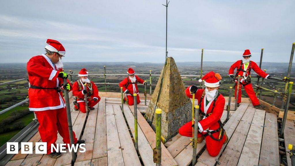Scaffolding Santas help repair Welling Monument