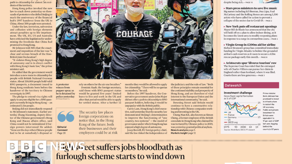 Headlines: laws of Hong Kong   and  lost NHS heroes