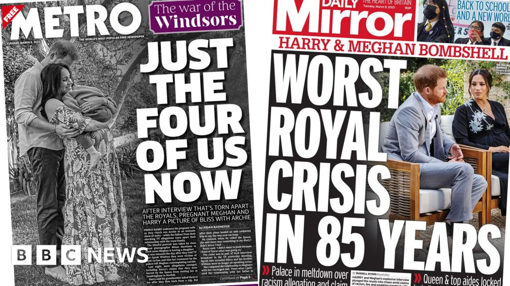 The papers: Palace 'reeling' over Meghan and Harry 'bombshell'
