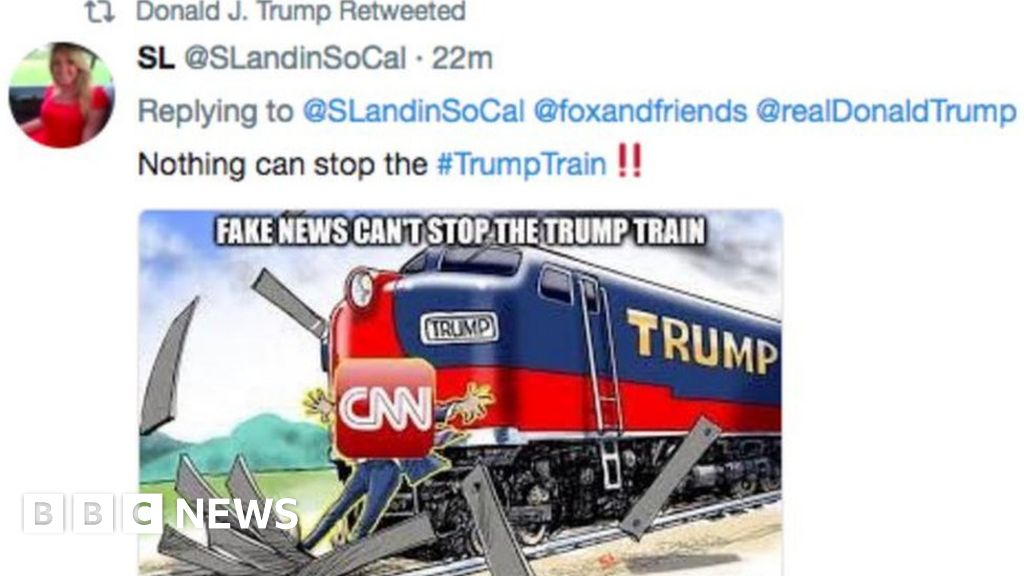 Cnn World News Twitter: Trump Tweets Cartoon Of Train Hitting CNN Reporter