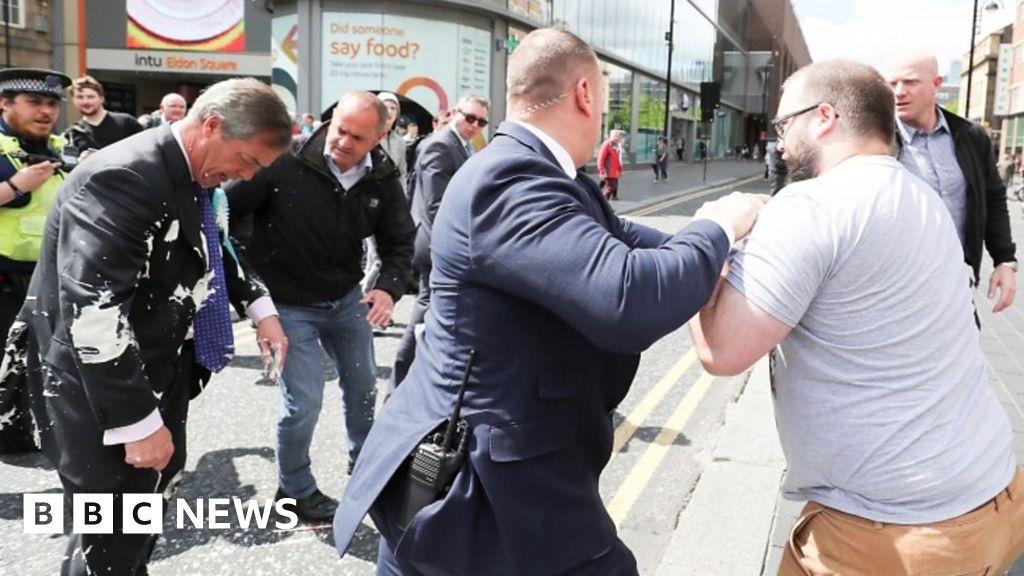 Nigel Farage: Milkshake thrown at Brexit Party leader - BBC News thumbnail