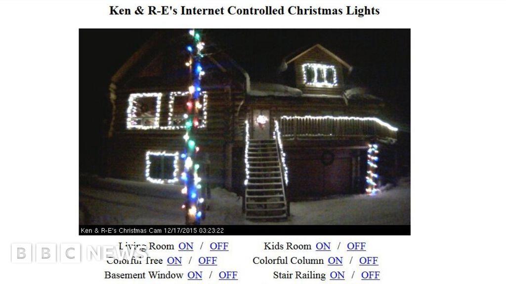 Colorful Christmas Lights On House.Alaskan Family Puts House Christmas Lights Online Bbc News