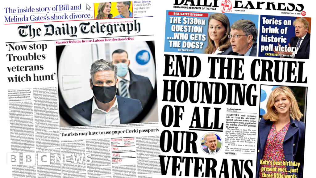 Newspaper headlines: 'Stop veterans witch hunt' and third jab for over-50s