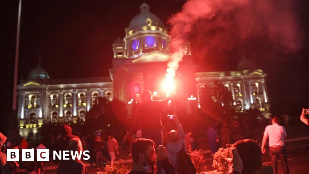 Protesters storm Serb parliament over Covid curfew thumbnail
