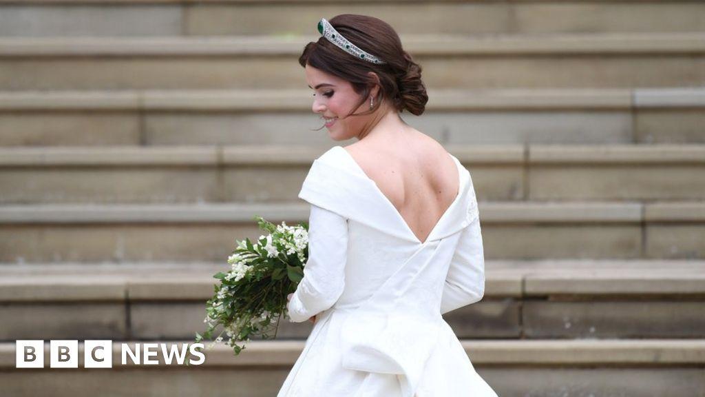 Princess Eugenie's dress in detail