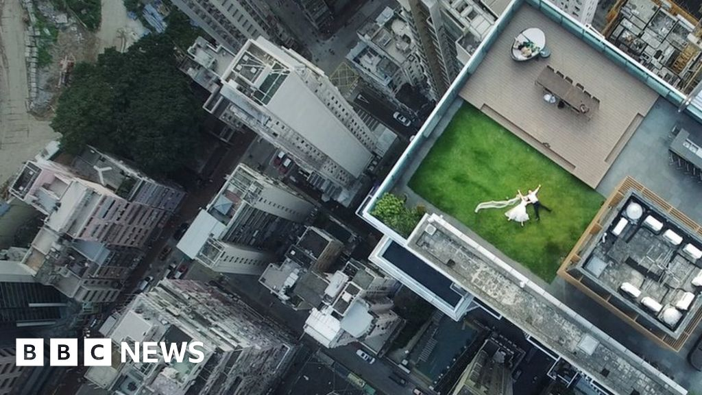 Rooftop Newlyweds Captured By Accidental Drone Shot