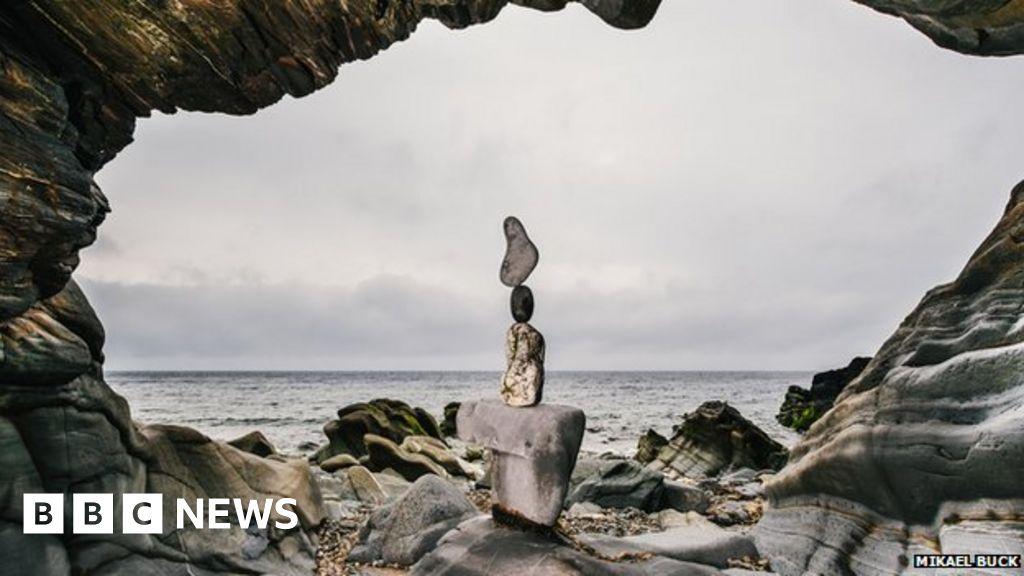 Stone Balancing Artist Showcases Work On Lsle Of Man Bbc News