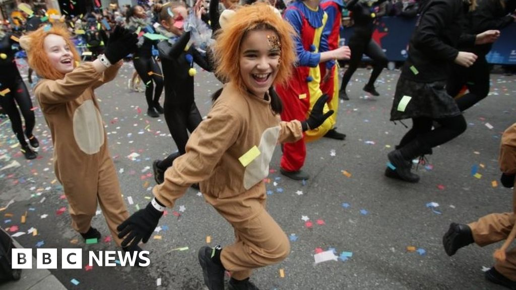 Image result for Thousands of people attend the New Year parade in central London