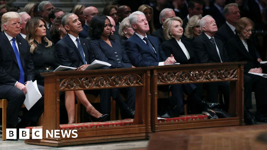Four presidents sat (awkwardly) on one pew