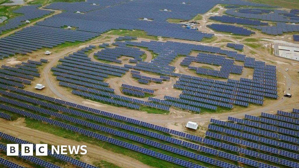 China Opens Panda Shaped Solar Power Plant Bbc News