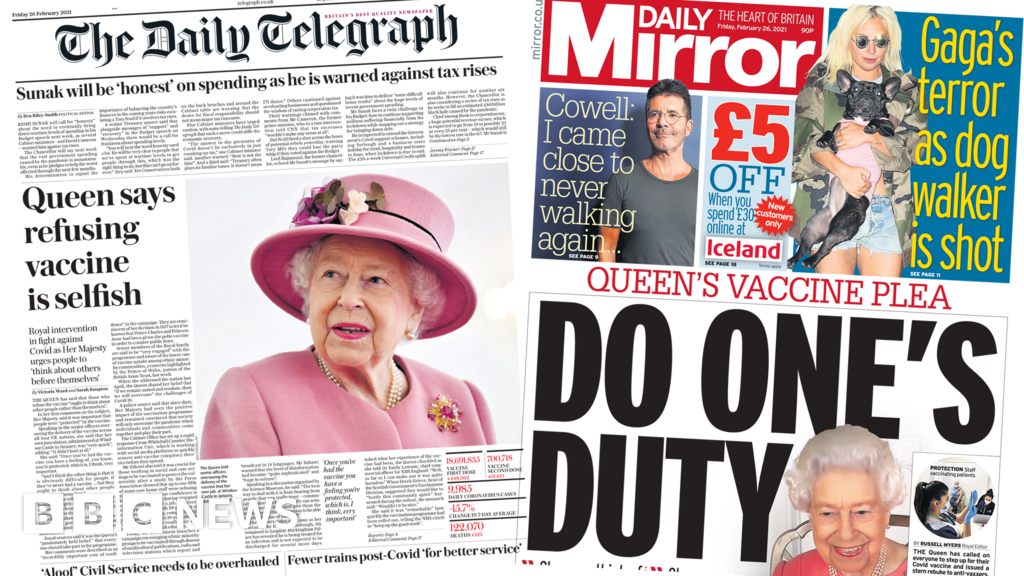 The Papers: 'Do one's duty' as Queen makes 'vaccine plea'