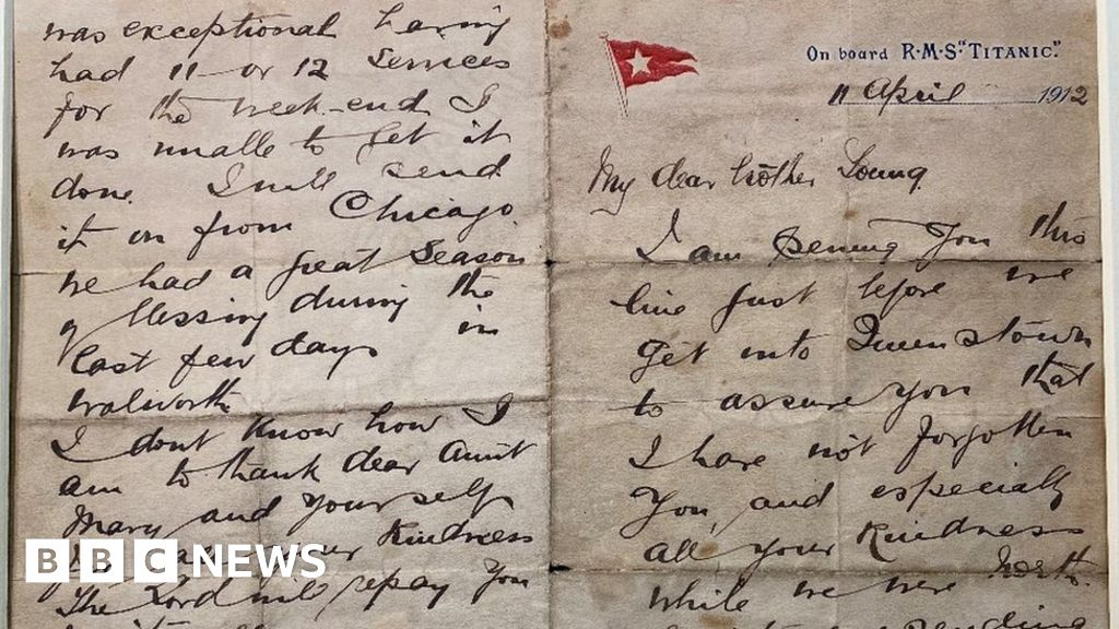 Titanic letter by 'brave' pastor John Harper sells for £42k