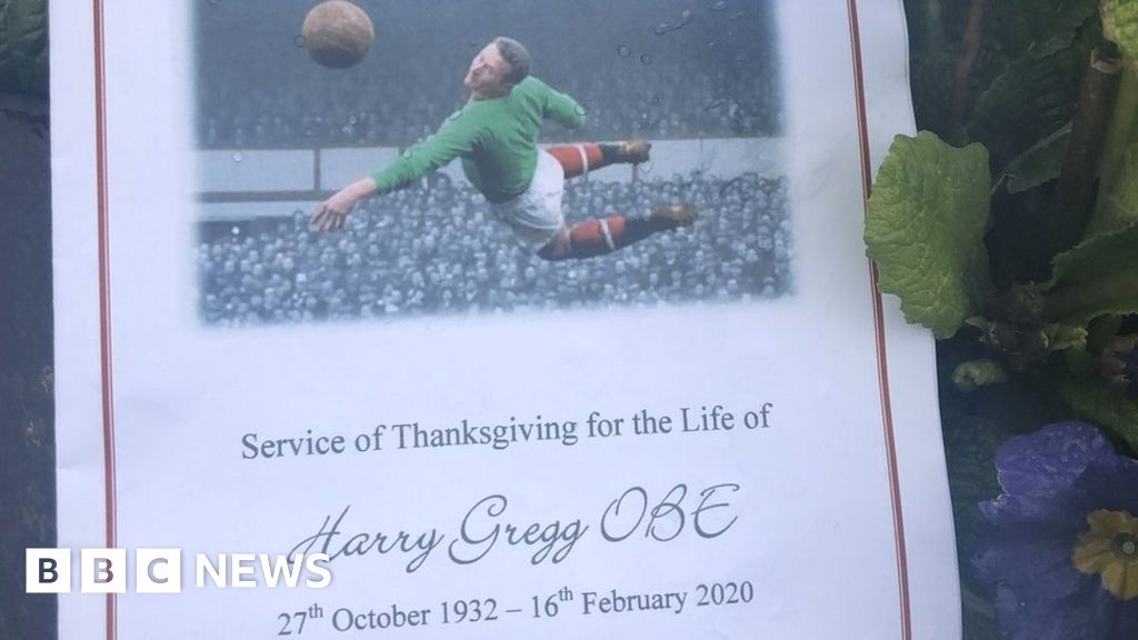 Funeral of Harry Gregg taking place