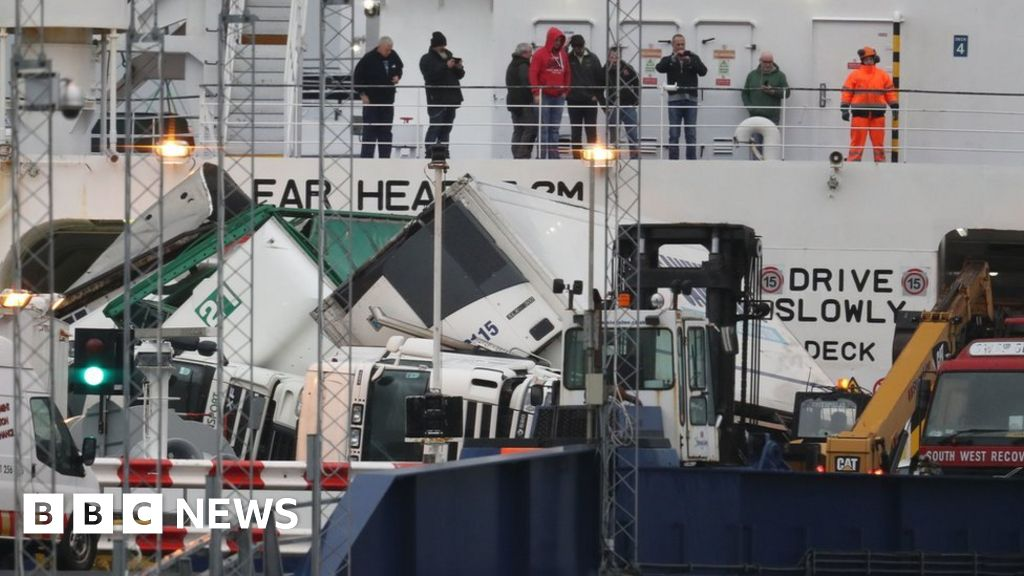 Lorries toppled on ferry