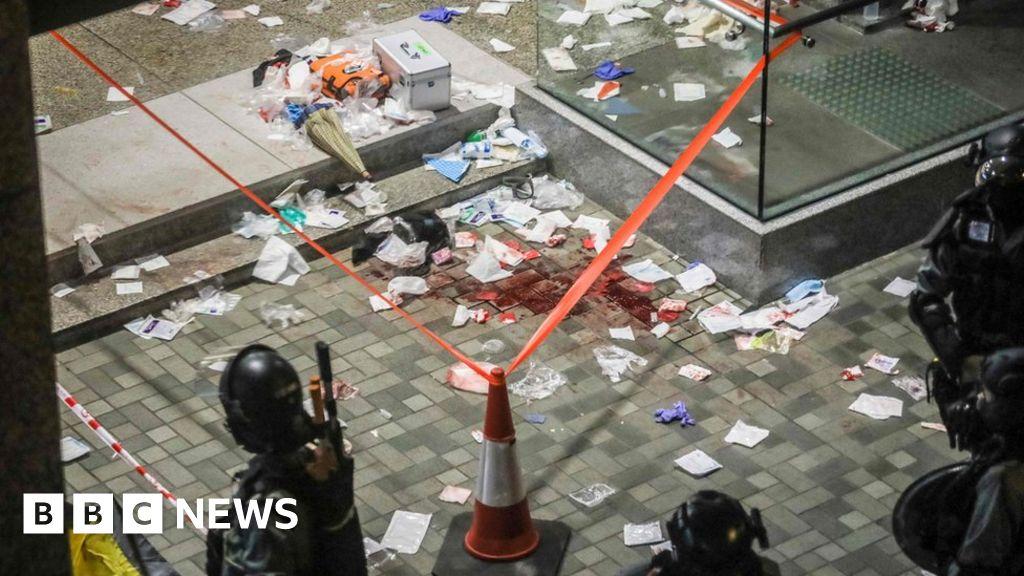 Hong Kong protests: Knife attacker bites man's ear