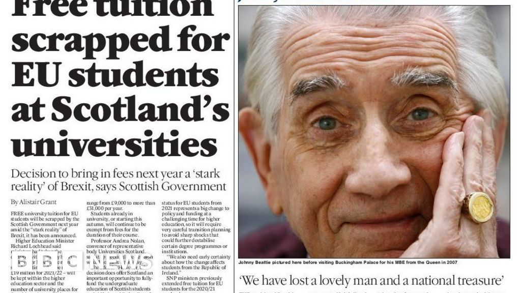 Scotland's papers: Lockdown 'milestone' and Beattie tributes thumbnail