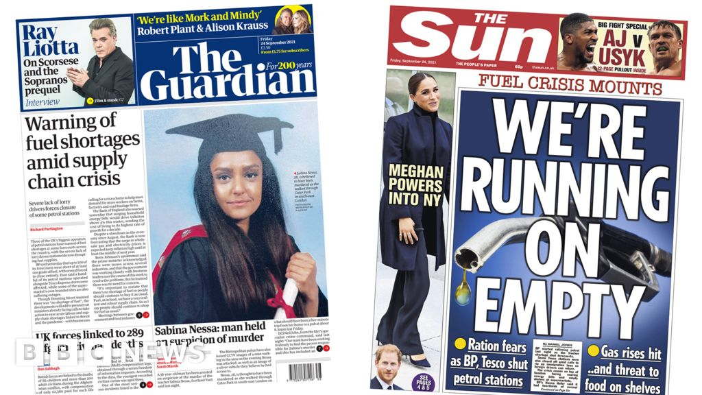 Newspaper headlines: Fuel 'ration fears' and Sussex and the City