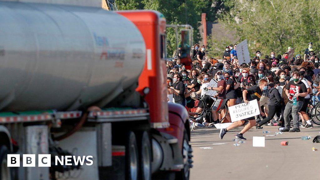 Morte de George Floyd: petroleiro dirigido a manifestantes dos EUA em Minneapolis