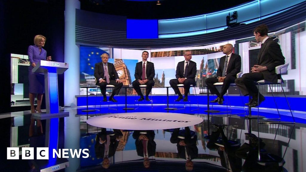 Tory candidates clash on TV over Brexit date thumbnail