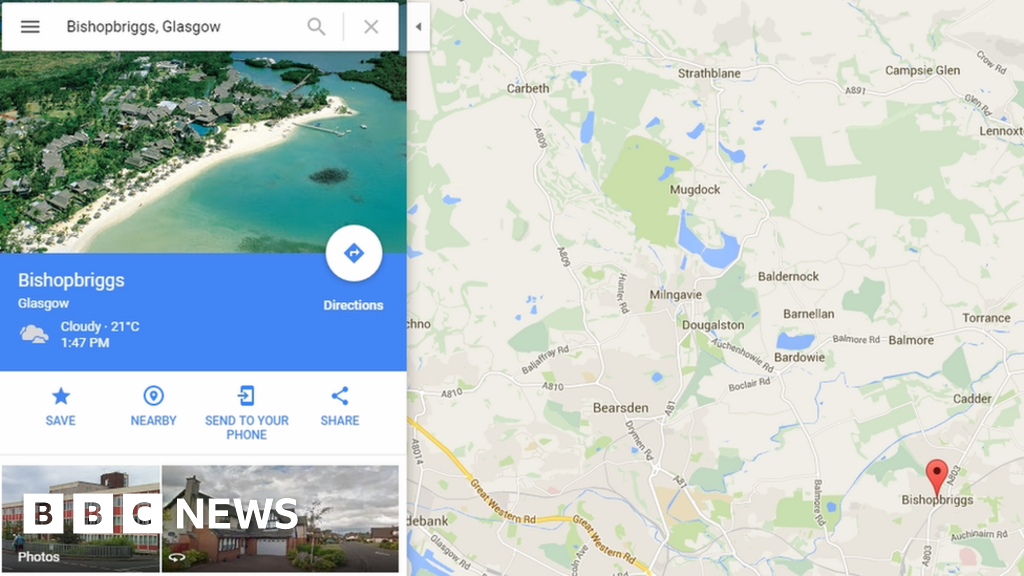 Bishopbriggs Goes Tropical On Google Maps Page Bbc News