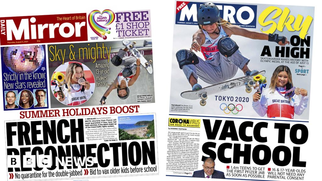 Newspaper headlines: 'French reconnection' and 'Sky on a high'