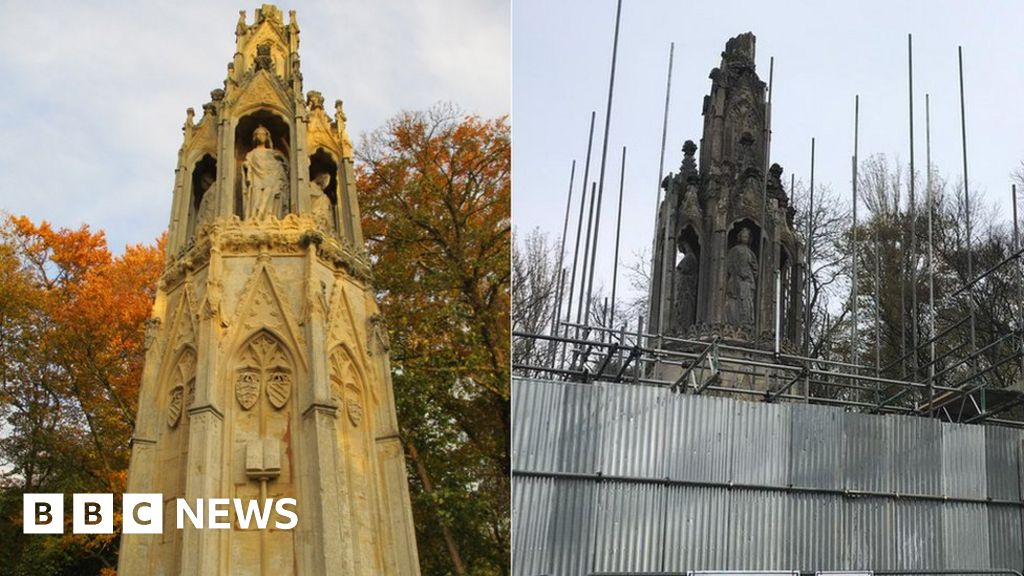 Eleanor Cross: Conservation of Northampton monument complete - BBC News