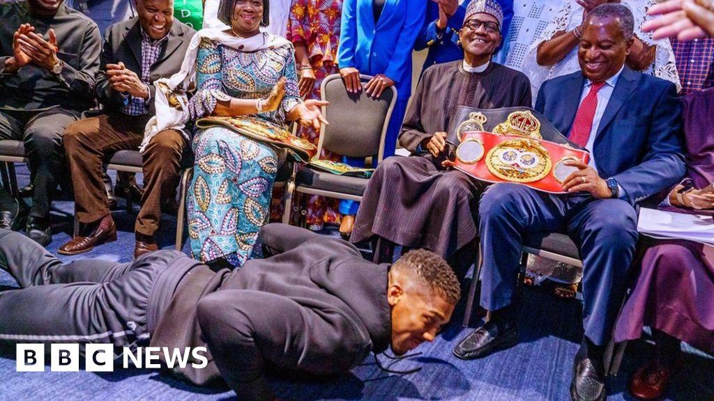 The Nigerian President Muhammadu Buhari  Floors  Anthony Joshua