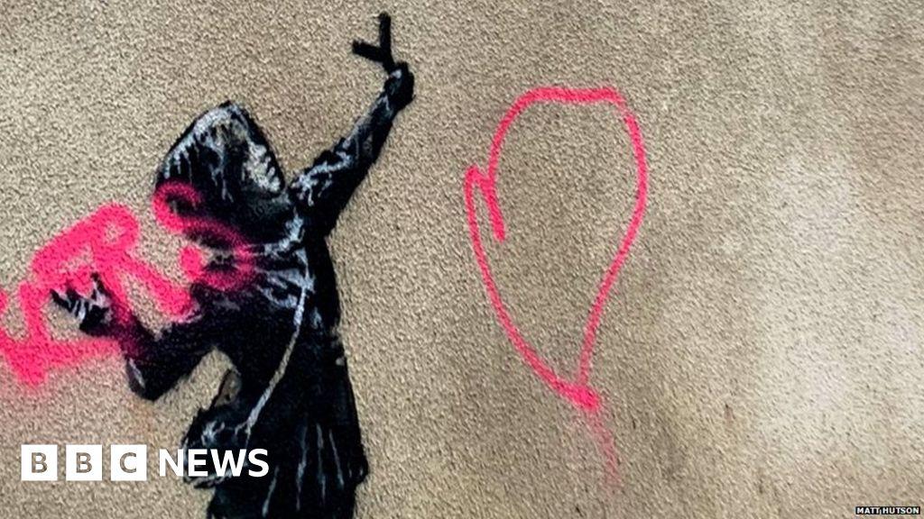 Bristol Valentine's Day Banksy mural vandalised BBC News