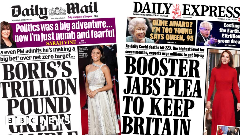 Newspaper headlines: PM's 'green gamble' and 'booster jabs plea'