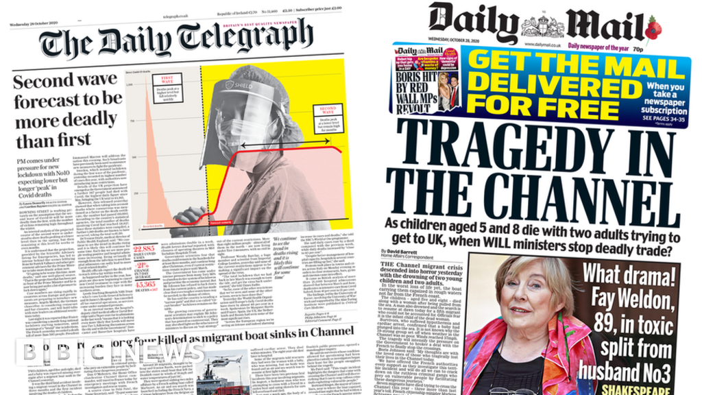 Newspaper headlines: Second wave warning and 'tragedy in the Channel'