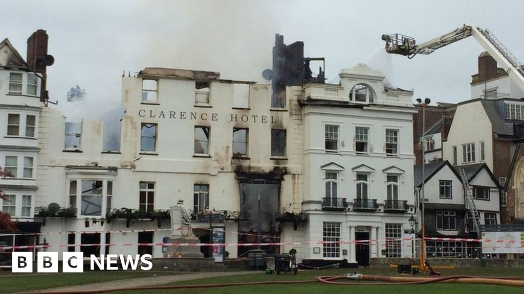 Exeter fire: Royal Clarence Hotel collapses in blaze