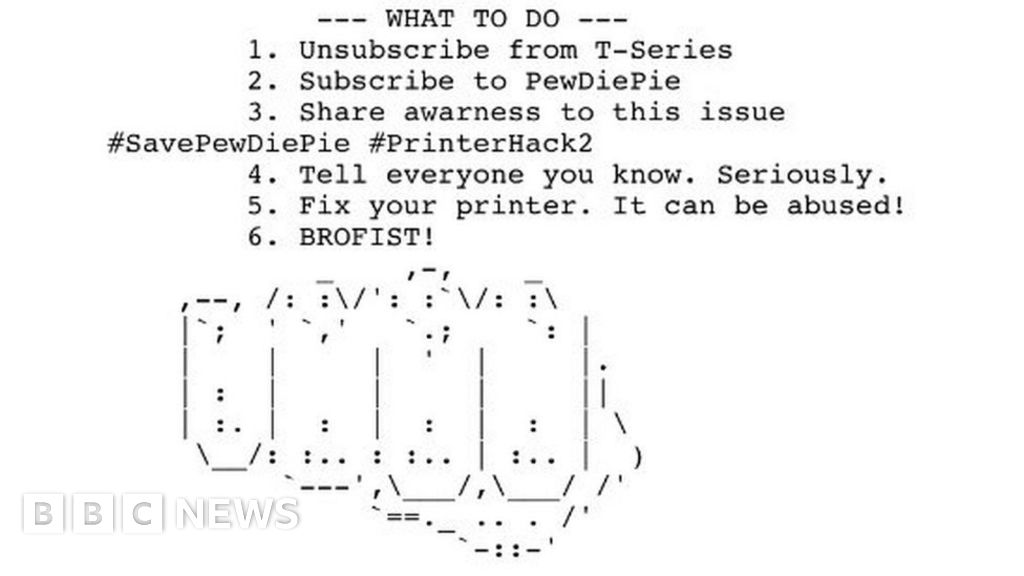 PewDiePie printer hackers strike again - BBC News