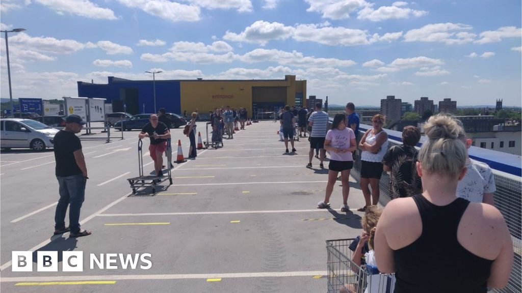 Customers queue for hours as Ikea reopens 19 shops