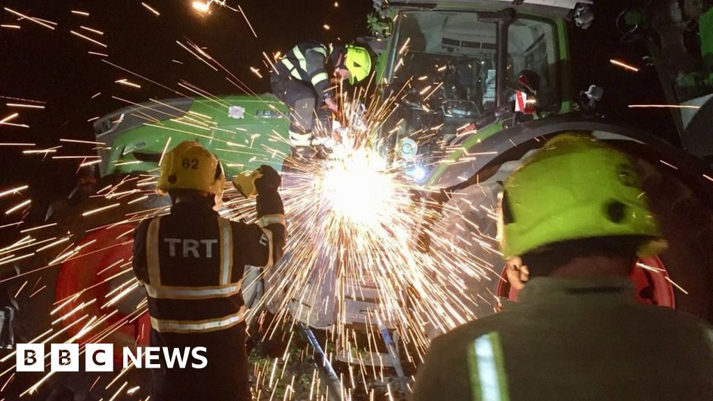 Delays as tractor ploughs over West Yorkshire rail track