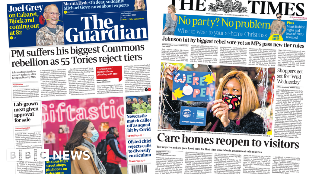 Newspaper headlines: Vaccine by the weekend and care home visits return