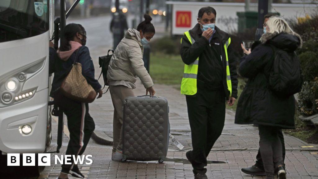 People arrive for hotel quarantine