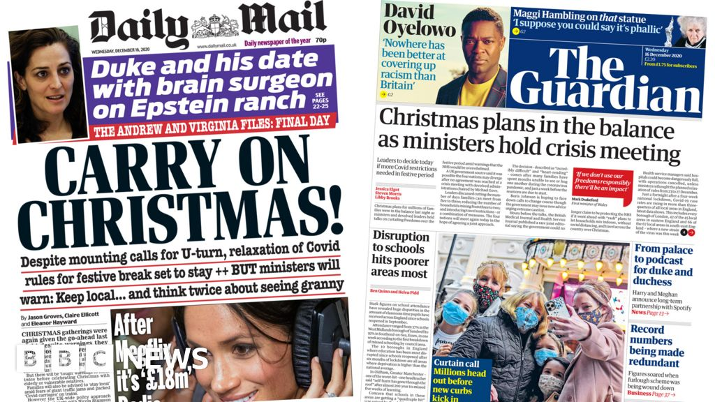 Newspaper headlines: 'Carry on Christmas' as PM refuses to scrap festive rules