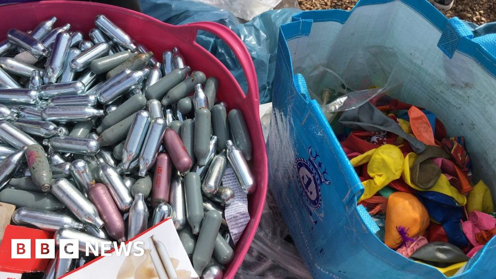 Brighton Pride: Beach covered with laughing gas canisters