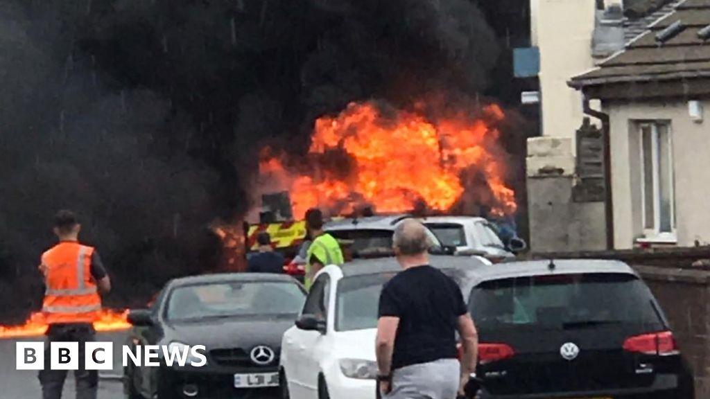 Van bursts into flames on Prestwick street