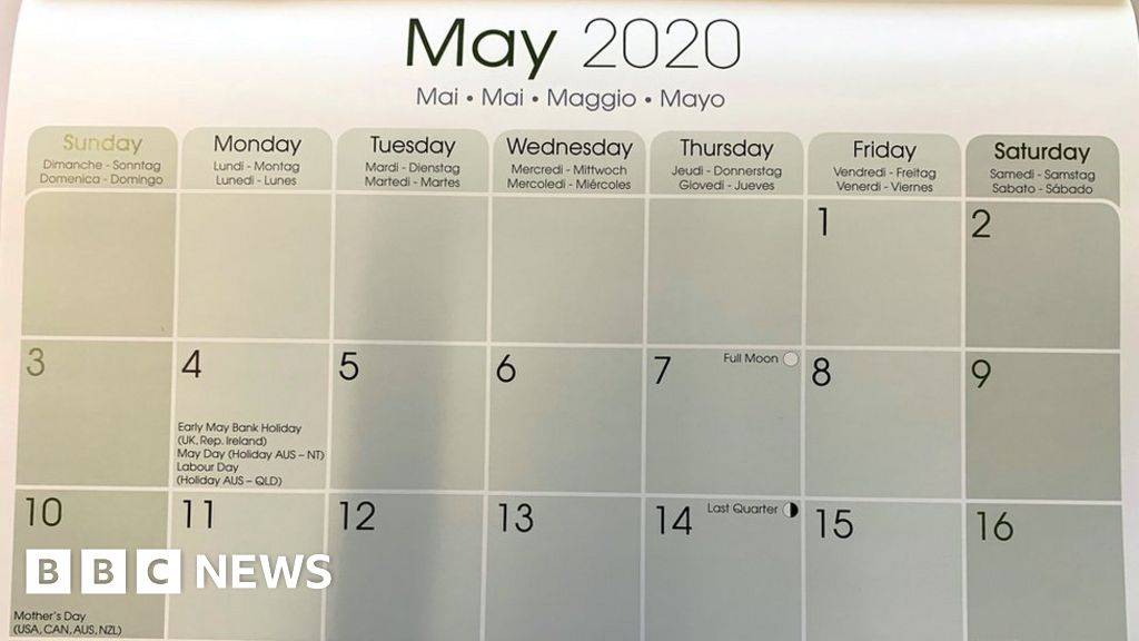 May 2020 Calendar With Holidays Uk.One Million Calendars Wrong Due To Bank Holiday Change Bbc News