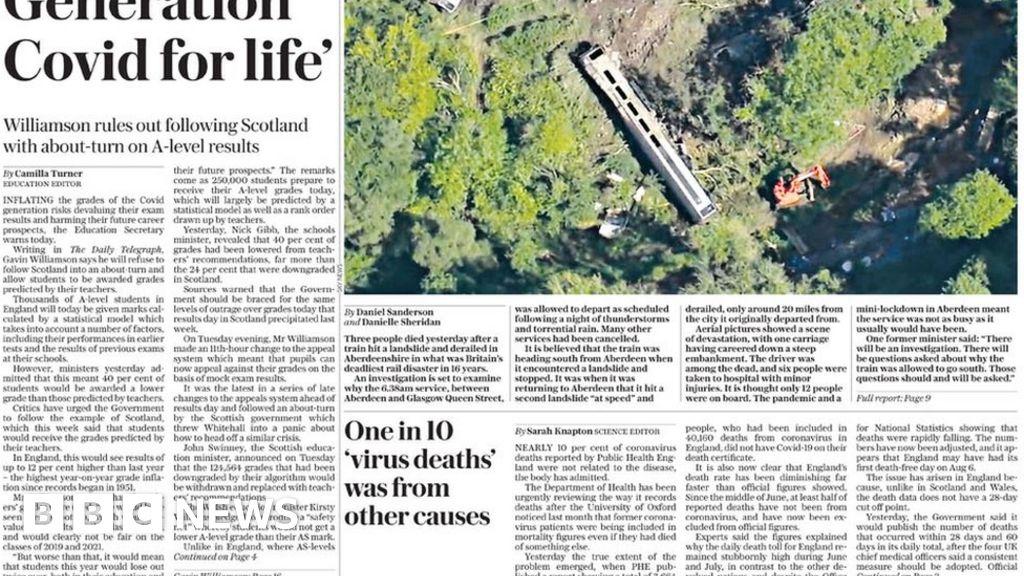 Newspaper headlines: Scotland train crash and No 10 braced for grades outcry - BBC News