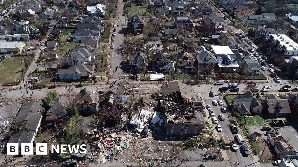 Aerial footage shows Nashville tornado damage thumbnail